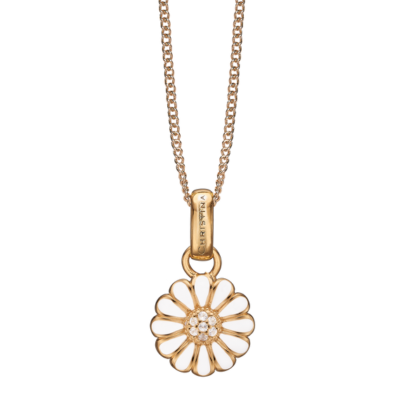Small Marguerite Necklace Gold with Gemstones
