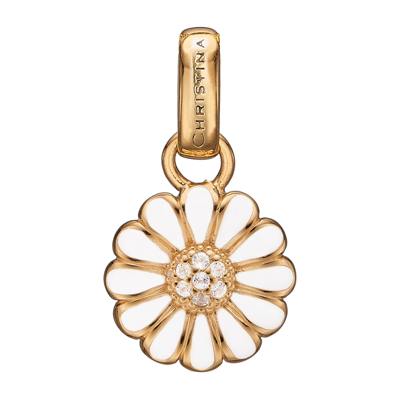 Small Marguerite Pendant Gold and White with Gemstones