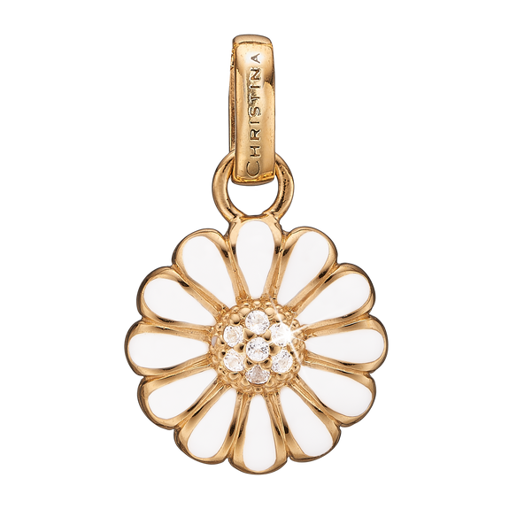 Marguerite Pendant Gold and White with Gemstones