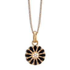 Load image into Gallery viewer, Black Marguerite Necklace Gold with Gemstones