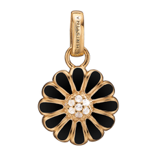 Load image into Gallery viewer, Black Marguerite Pendant Gold and Black with Gemstones