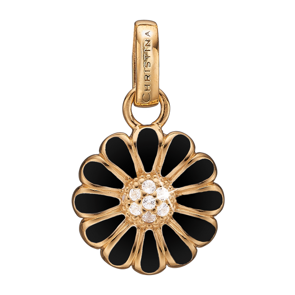 Black Marguerite Pendant Gold and Black with Gemstones