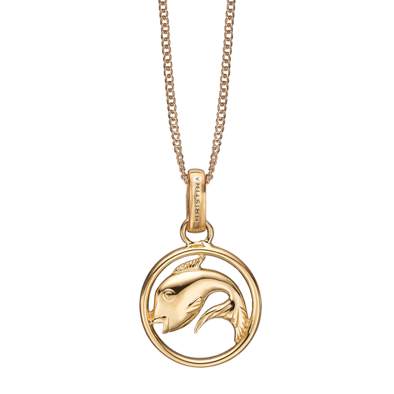 Zodiac Pisces Necklace Gold