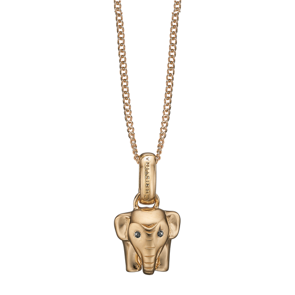 Lucky Elephant Necklace Gold with Gemstones