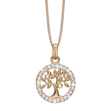 Load image into Gallery viewer, Topaz Tree of Life Necklace Gold with Gemstones