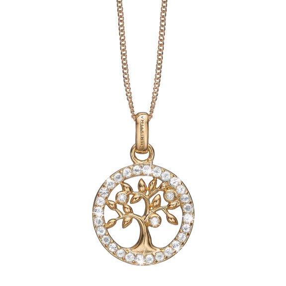 Topaz Tree of Life Necklace Gold with Gemstones