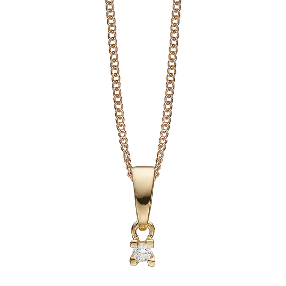 Small Diamond Pendant Necklace Gold with Gemstones