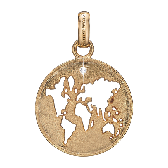 The World Pendant Gold with Gemstones