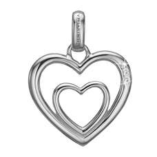 Load image into Gallery viewer, Two Open Hearts Pendant Silver with Gemstones