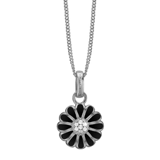 Load image into Gallery viewer, Black Marguerite Necklace Silver with Gemstones