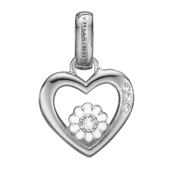 Marguerite Love Pendant Silver and White with Gemstones