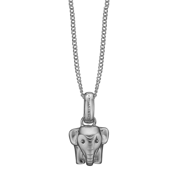 Lucky Elephant Necklace Silver with Gemstones
