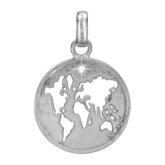 The World Pendant Silver with Gemstones