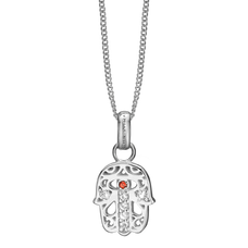 Load image into Gallery viewer, This beautifully designed and handcrafted Hamsa Pendant takes inspiration from two Mediterranean amulets, that are believed to offer the wearer heavenly (hand of God) protection for wearer from the evil eye.   For that special touch and to make our Pendant Collection even more special, all the Pendants in our collection are delicately and expertly handcrafted in 925 Sterling Silver and finished in either 18ct Gold or Rhodium Plating. The Hamsa Pendent is further embellished with Real Gemstones.