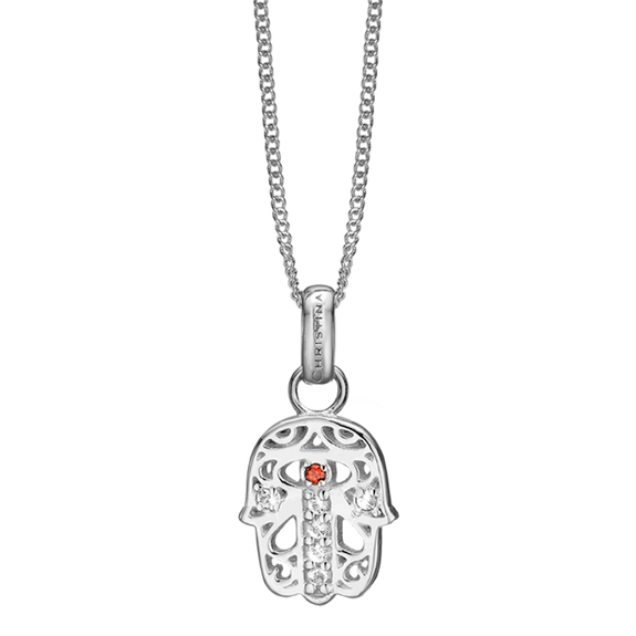 This beautifully designed and handcrafted Hamsa Pendant takes inspiration from two Mediterranean amulets, that are believed to offer the wearer heavenly (hand of God) protection for wearer from the evil eye.   For that special touch and to make our Pendant Collection even more special, all the Pendants in our collection are delicately and expertly handcrafted in 925 Sterling Silver and finished in either 18ct Gold or Rhodium Plating. The Hamsa Pendent is further embellished with Real Gemstones.