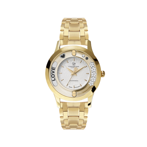 Precious Love, Collect Watch with Gold plated Steel bracelet