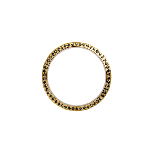 Gold, Serene Bezel, Bezel with Saphire Glass and Black Gemstones