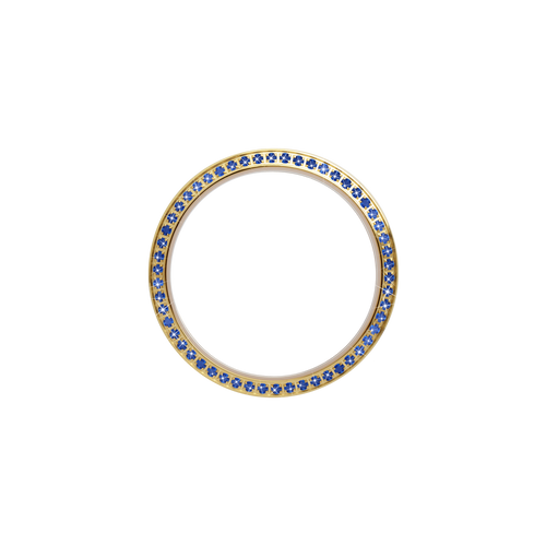 Gold, Serene Bezel, Bezel with Saphire Glass and Blue Gemstones