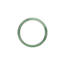 Load image into Gallery viewer, Silver, Serene Bezel, Bezel with Saphire Glass and Green Gemstones