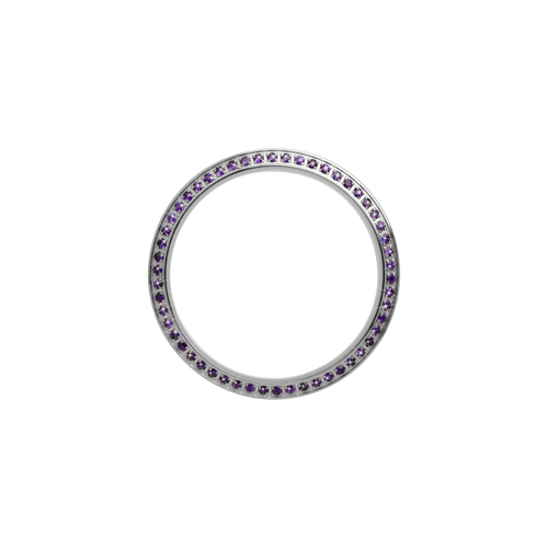 Gold, Serene Bezel, Bezel with Saphire Glass and Purple Gemstones