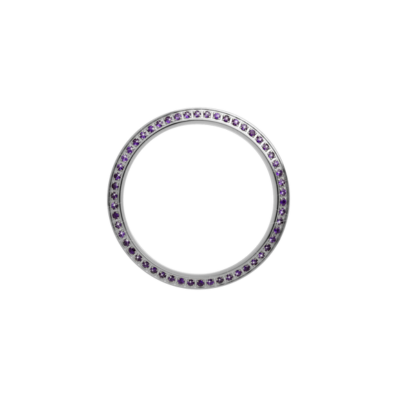 Silver, Serene Bezel, Bezel with Saphire Glass and Purple Gemstones