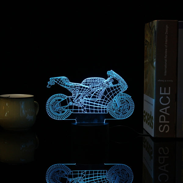 3D Motorcycle Illusion LED Table Desk Light USB 7 Color Changing Night Lamp Home Decor