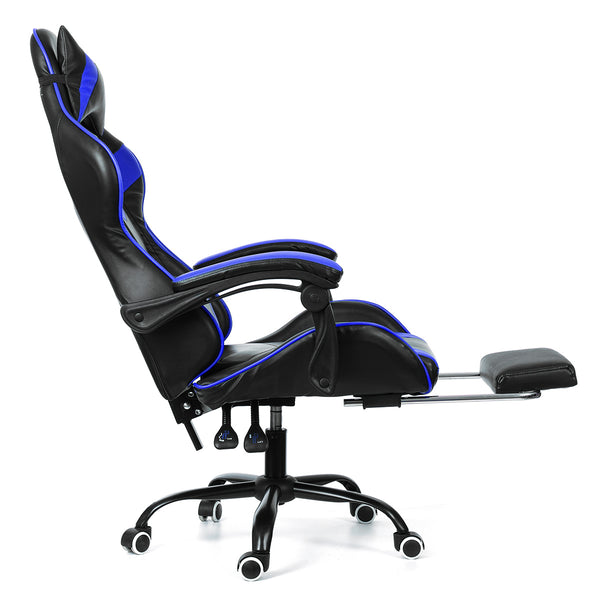 Ergonomic High Back Racing Style Headrest Reclining Office Chair Adjustable Rotating Lift Chair Leather for Gaming or Laptop Desk Chair with Footrest
