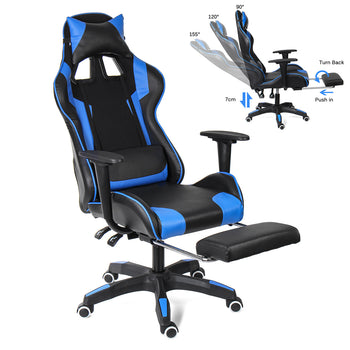 Ergonomic High Back Gaming Racing Chair Recliner Headrest Computer Laptop Desk  Leather Seat Office Chair with Footrest