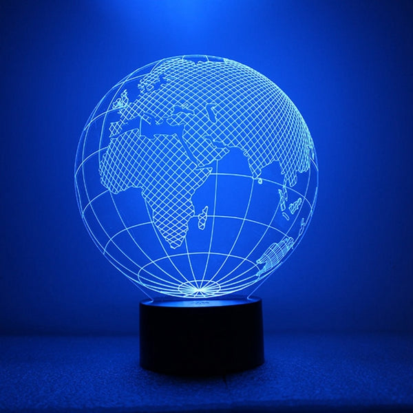 3D Earth Globe Night Light 7 Color Changing USB LED Table Lamp