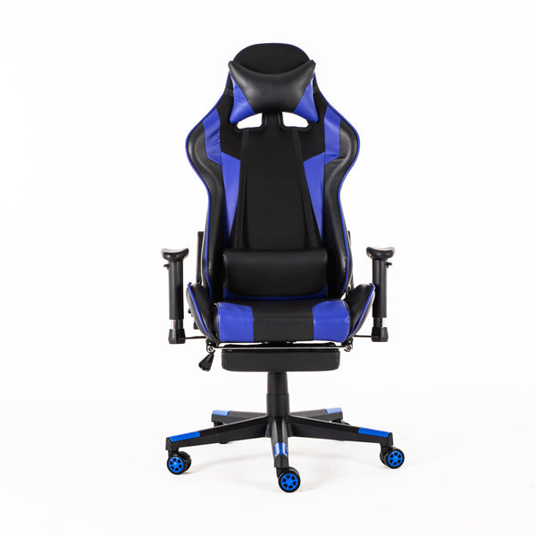 Racing Style Ergonomic High-Back Computer Gaming Office Chair Reclining Internet Cafe Seat Armchair  with Footrest