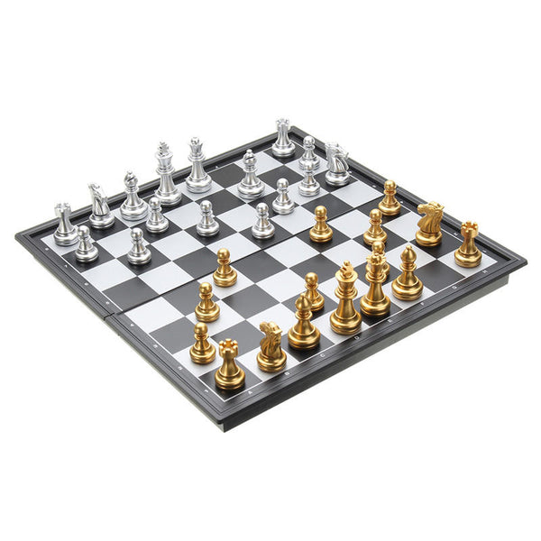 Gold Chess™ Chess Board With Silver And Gold Pieces Folding Magnetic Game Set