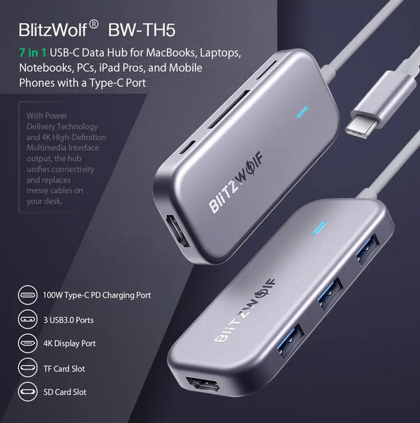 BlitzWolf® 7 in 1 USB-C Data Hub with 3-Port USB 3.0 TF Card Reader USB-C PD Charging 4K Display