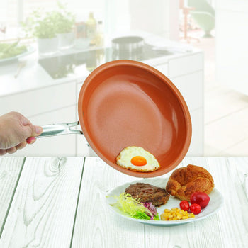 Copper Non Stick Frying Pan Universal For Gas & Induction Cooker 8/10/12 Inch