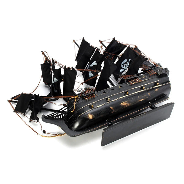 Large Black Pearl Model Pirate Ship Vintage Wooden Sailboat Home Decor