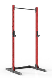 105 red coated steel squat rack with pull up bar and j-cups from iron bull strength