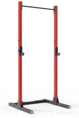 111 red coated steel squat rack with pull up bar and j-cups from iron bull strength