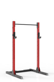 81 red coated steel squat rack with pull up bar and j-cups from iron bull strength