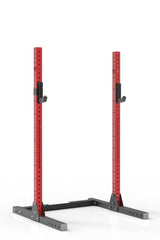 "81"" red coated steel squat stand iron bull strength"