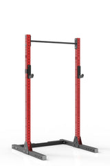 87 red coated steel squat rack with pull up bar and j-cups from iron bull strength