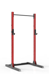 93 red coated steel squat rack with pull up bar and j-cups from iron bull strength
