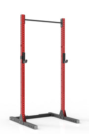99 red coated steel squat rack with pull up bar and j-cups from iron bull strength