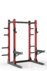 81 red powder coated steel home gym half rack with multi grip pull up bar, safety arms, rear extension for weight plates storage and j-cups from iron bull strength