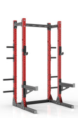 93 red powder coated steel home gym half rack with multi grip pull up bar, safety arms, rear extension for weight plates storage and j-cups from iron bull strength