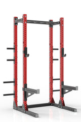 99 red powder coated steel home gym half rack with multi grip pull up bar, safety arms, rear extension for weight plates storage and j-cups from iron bull strength
