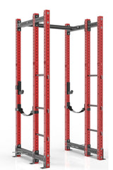 102 inches red power rack with front extension, dual pull up bar, band pegs, j cups and safety straps