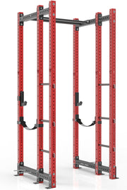 108 inches red power rack with front extension, dual pull up bar, band pegs, j cups and safety straps