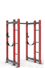 78 inches red power rack with front extension, dual pull up bar, band pegs, j cups and safety straps