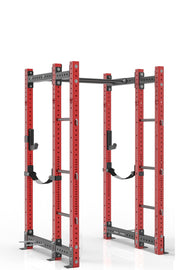 84 inches red power rack with front extension, dual pull up bar, band pegs, j cups and safety straps