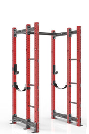 90 inches red power rack with front extension, dual pull up bar, band pegs, j cups and safety straps