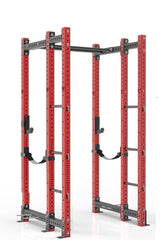 96 inches red power rack with front extension, dual pull up bar, band pegs, j cups and safety straps